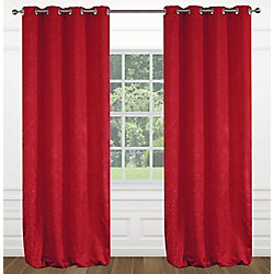 LJ Home Fashions Raindrops Abstract Floral Crushed Fabric Grommet Curtain Panels 54x95-in, Red (Set of 2)