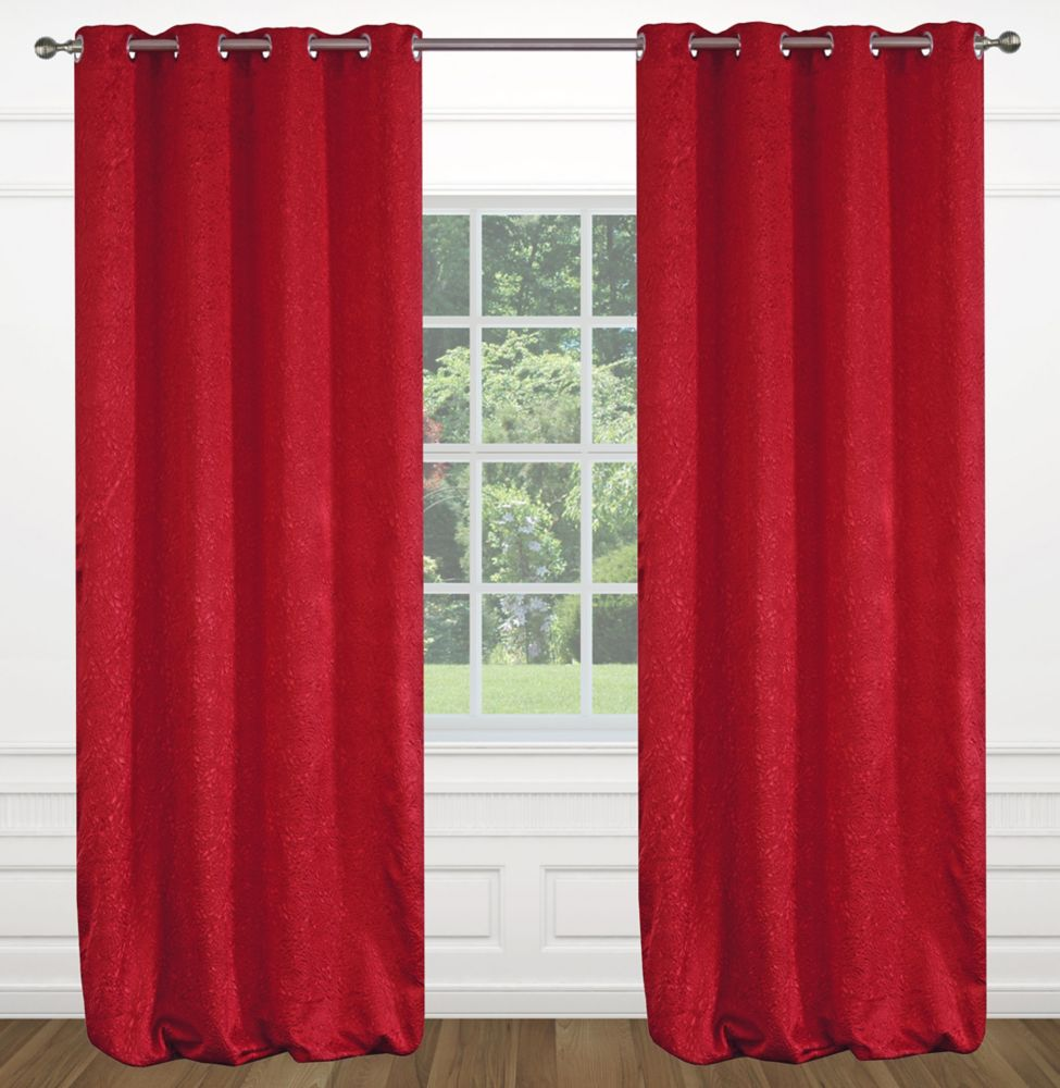 """Raindrops 54""""x95"""" inch Grommet 2-Pack Curtain Set,  Red"""