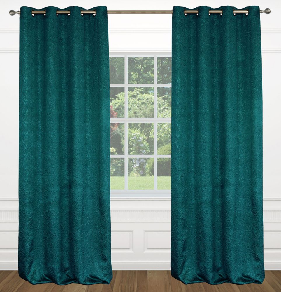 "Raindrops 54""x95"" inch Grommet 2-Pack Curtain Set,  Peacock Blue"