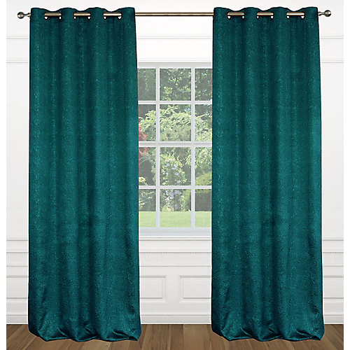 Raindrops Crushed Fabric Grommet Curtain Set, 54 inch W x 95 Inch L, Ocean Blue