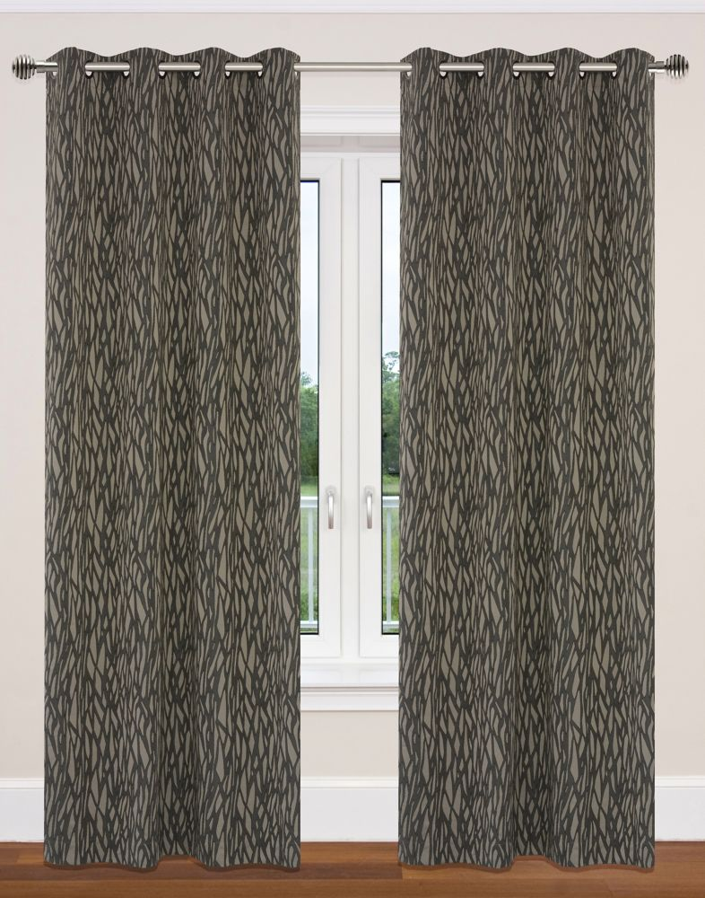 Delta 52x95-inch Grommet 2-Pack Curtain Set, taupe/black