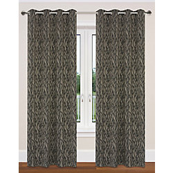 LJ Home Fashions Delta Nature Inspired / Branch Design Grommet Curtain Panels 52x95-in, Taupe/Black (Set of 2)