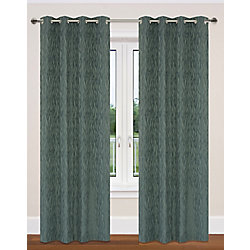 LJ Home Fashions Delta Nature Inspired Privacy Grommet Curtain Panel Set, 52 inch W x 95 inch L, Charcoal Grey