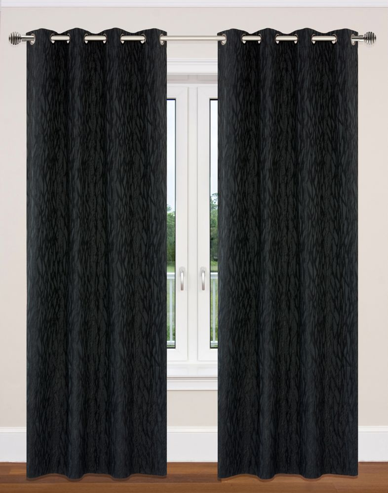 Delta 52x95-inch Grommet 2-Pack Curtain Set, Black