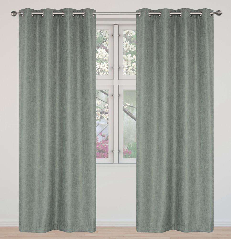 LJ Home Fashions Eclipse Room Darkening Privacy Grommet Panel Set 52 inch W x 95 inch L, Grey