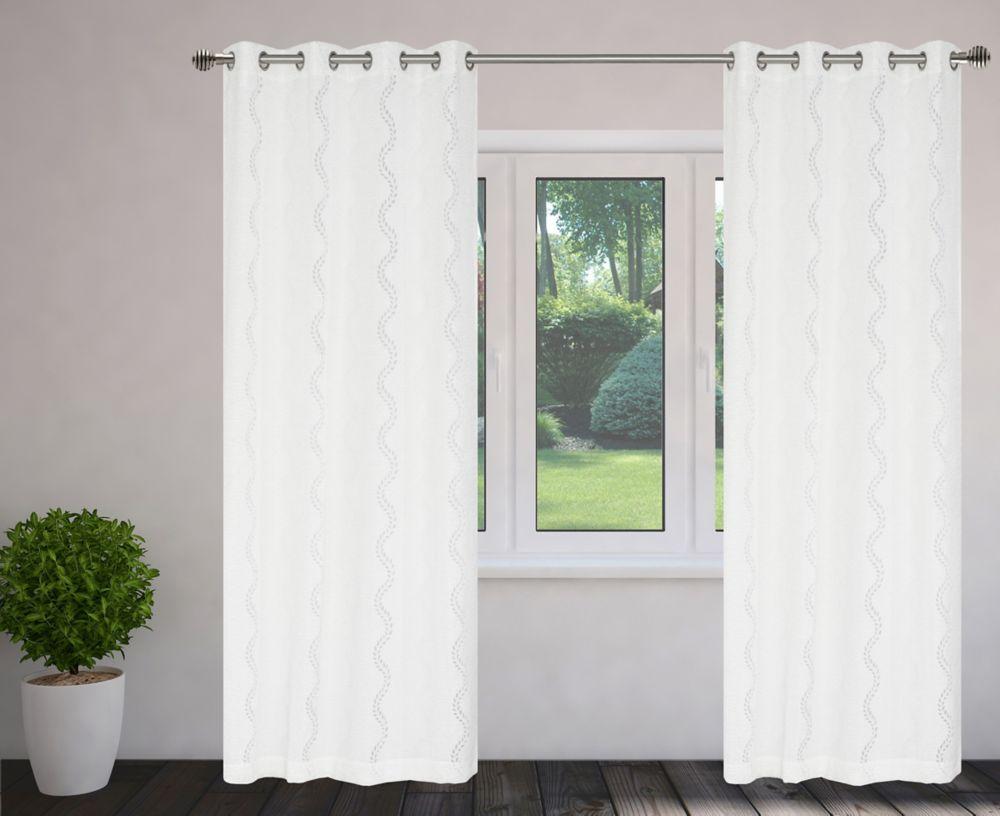 Fantasy Burnout 56x95-inch Grommet 2-Pack Curtain Set, White