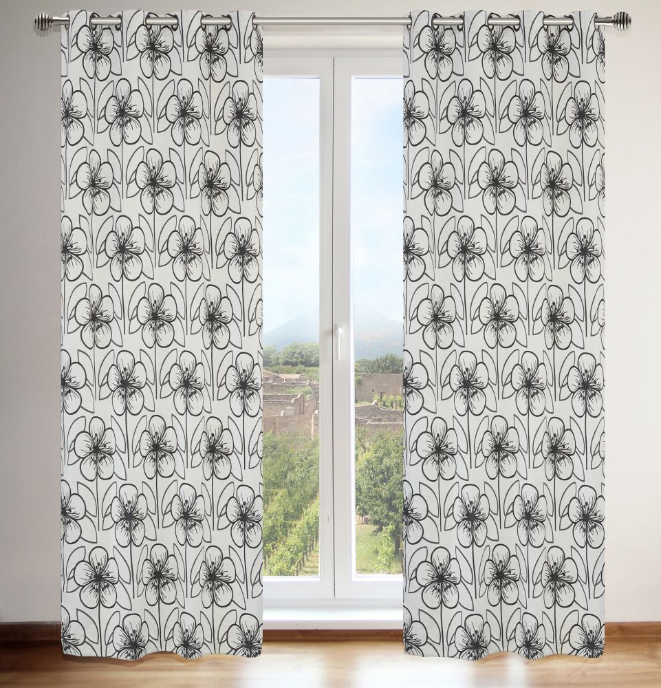 Tania 54x95-inch Floral Grommet 2-Pack Curtain Set, Silver/Black