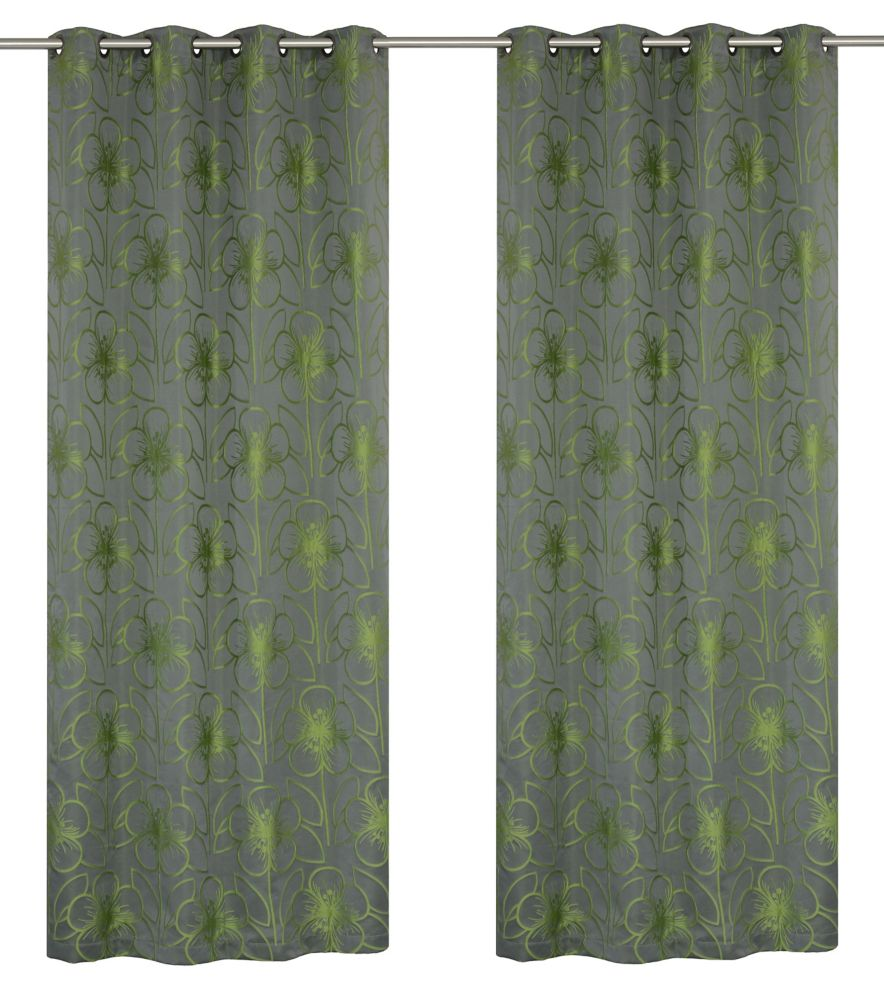 Tania 54x95-inch Floral Grommet 2-Pack Curtain Set, grey/chartreuse
