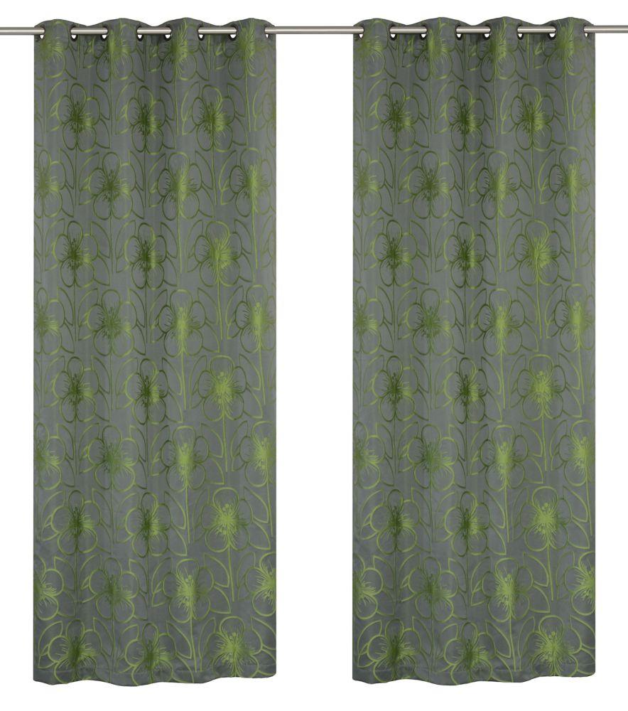 2 panneaux à oeillets Tania à motif fleuri sur Jacquard. L'ensemble 54''x95'', Gris/Chartreuse