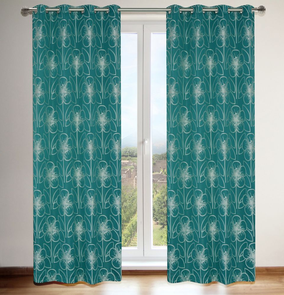 Tania 54x95-inch Floral Grommet 2-Pack Curtain Set, teal blue/ivory