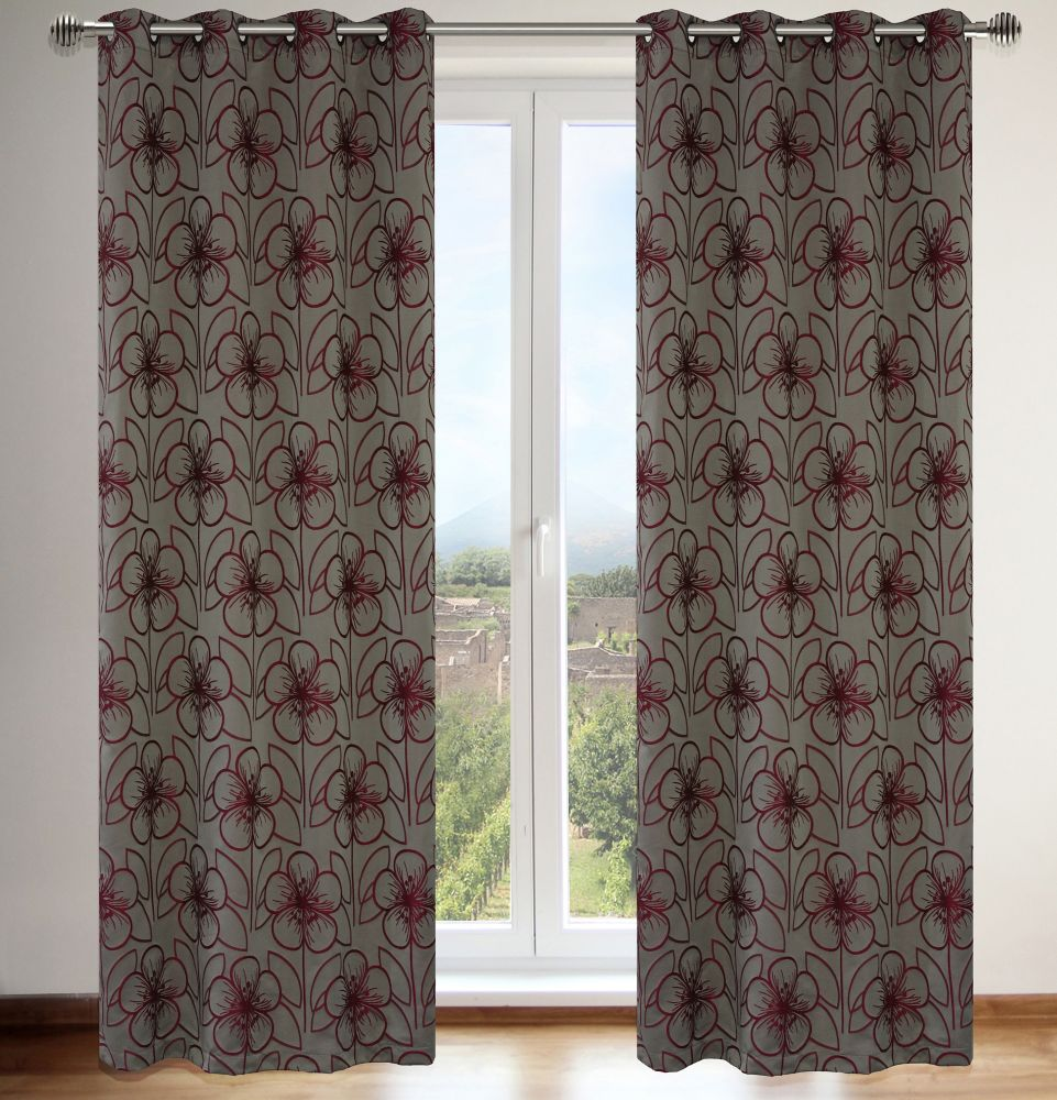 Tania 54x95-inch Floral Grommet 2-Pack Curtain Set, taupe/red