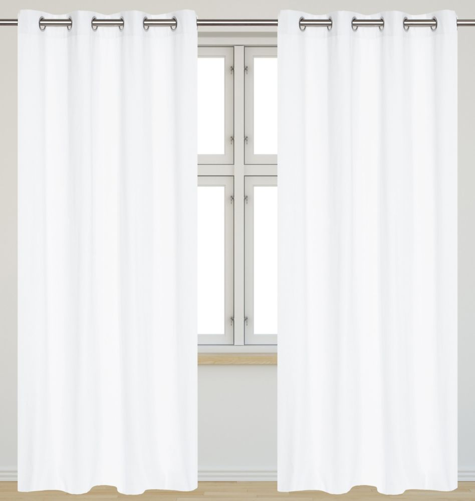 Karma Faux Cotton 54x95-inch Grommet 2-Pack Curtain Set, White