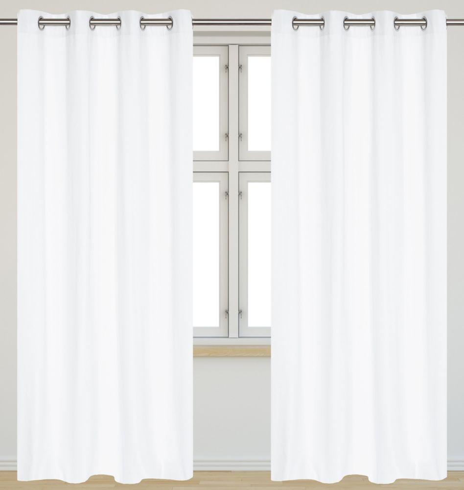 Karma Faux Cotton 54x95-inch Grommet 2-Pack Curtain Set, White