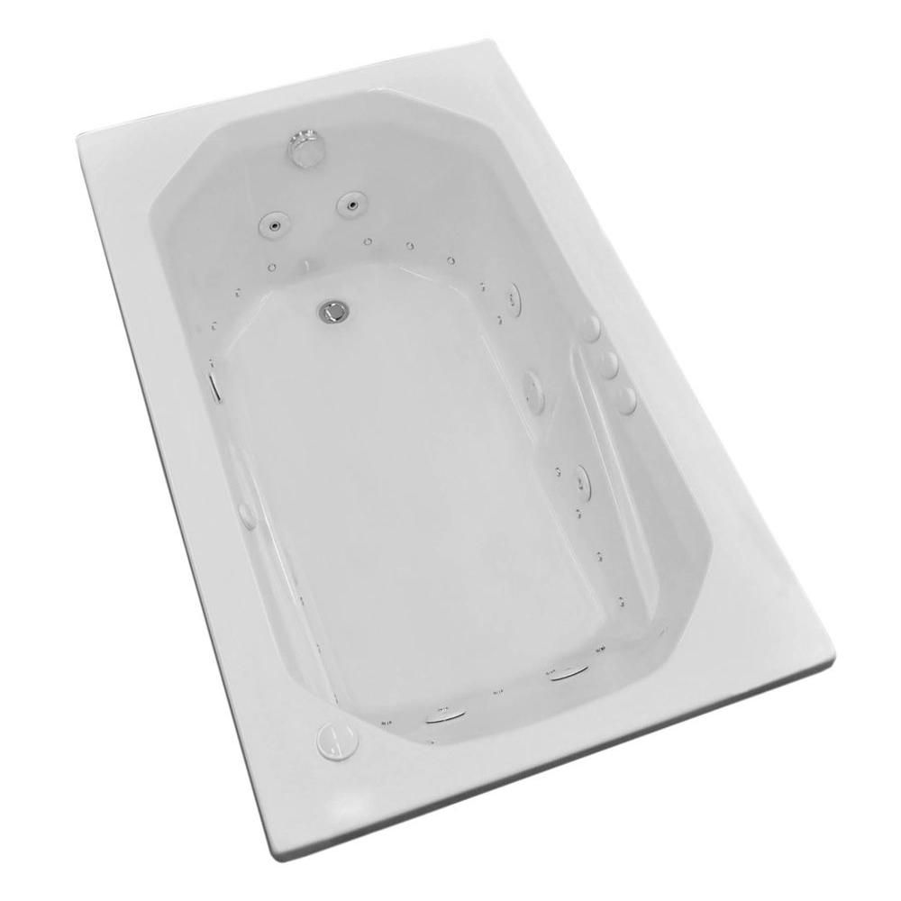 Onyx 5 ft. Acrylic Drop-in Left Drain Rectangular Whirlpool and Air Bathtub in White