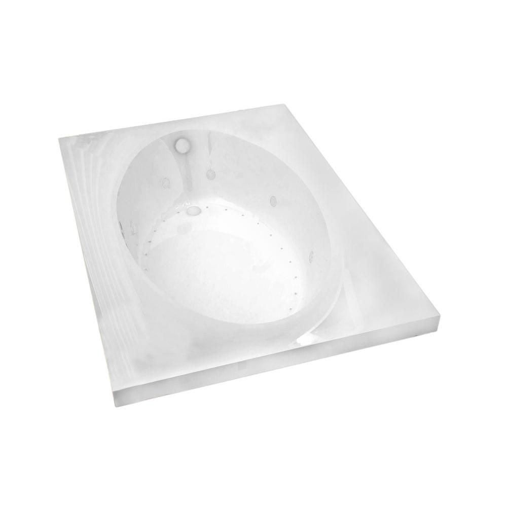 Imperial 5 ft. Acrylic Drop-in Left Drain Rectangular Whirlpool and Air Bathtub in White