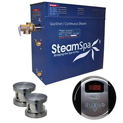 Steamspa Oasis 10.5kw Steam Generator Package in Brushed Nickel