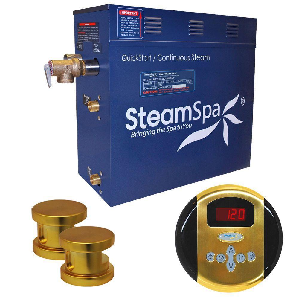 Steamspa Oasis 10.5kw Steam Generator Package in Polished Brass