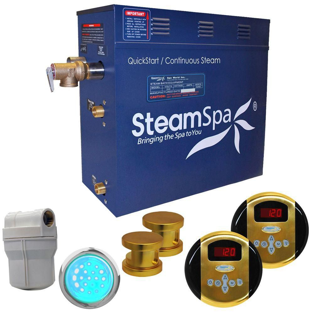 Royal 10.5kw Steam Generator Package in Polished Brass