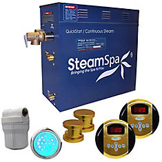 Royal 12kw Steam Generator Package in Polished Brass