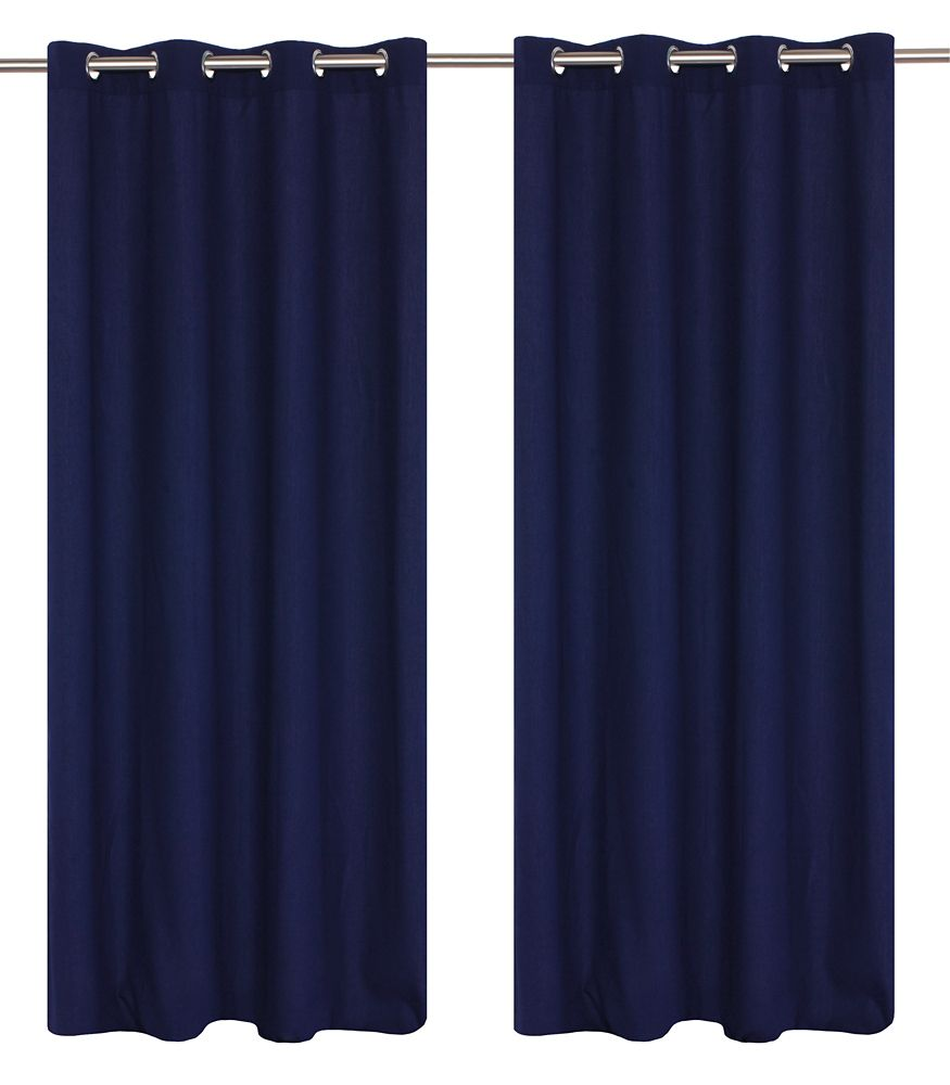 Karma Faux Cotton 54x95-inch Grommet 2-Pack Curtain Set, Royal Blue