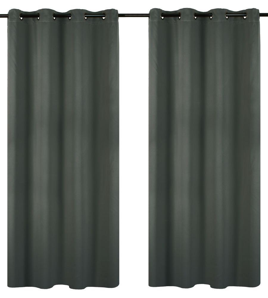 Luxura Room Darkeing, Insulating 56x95-inch Grommet 2-Pack Curtain Set, Grey
