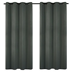 LJ Home Fashions Luxura Light Reducing Insulating Grommet Curtain Panels 56x95-in, Charcoal Grey (Set of 2)
