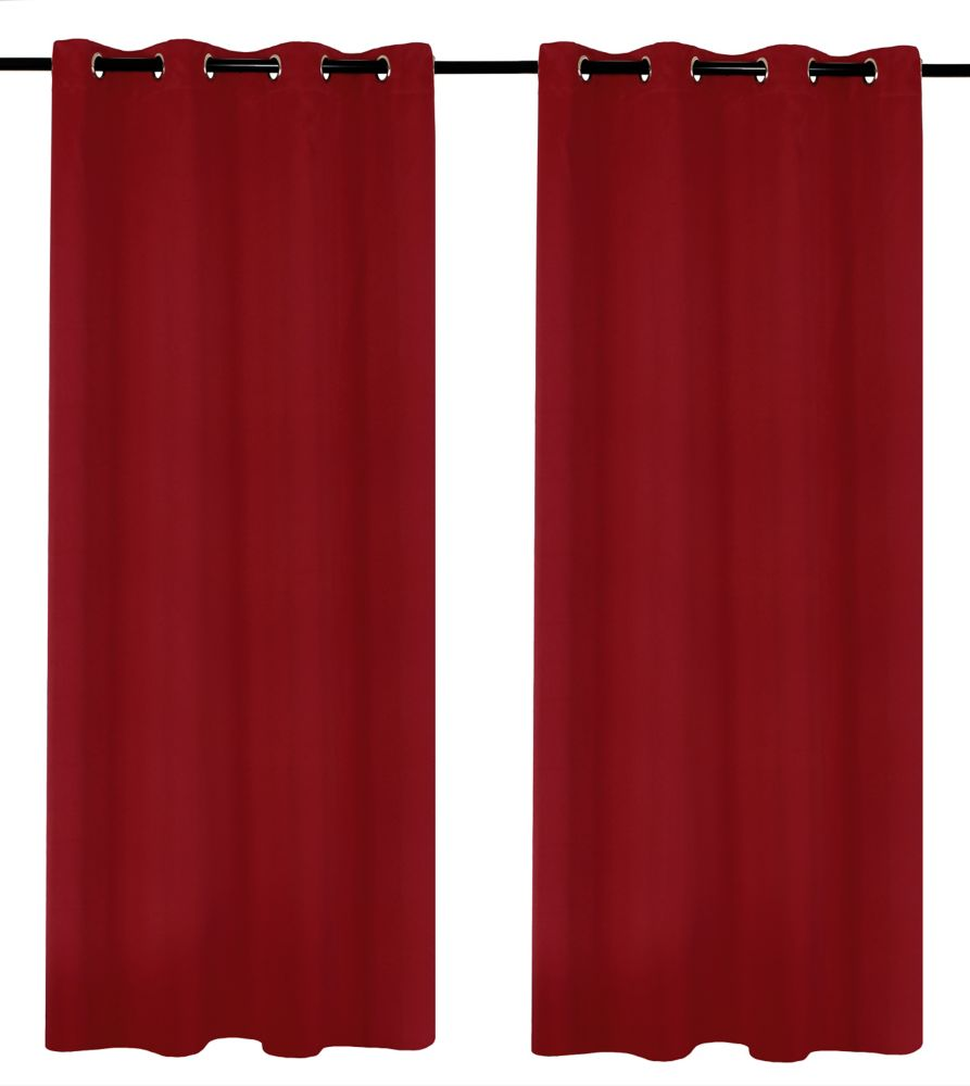 LJ Home Fashions Luxura Light Reducing Privacy Grommet Curtain Set, 56  inch Wx95  inch L, Red