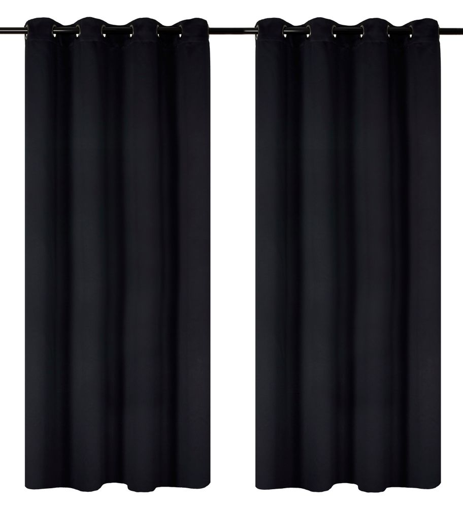 Luxura Room Darkeing, Insulating 56x95-inch Grommet 2-Pack Curtain Set, Black