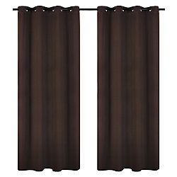 LJ Home Fashions Luxura Light Reducing Insulating Grommet Curtain Panels 56x95-in, Brown (Set of 2)
