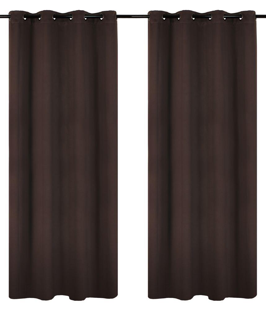 Luxura Room Darkeing, Insulating 56x95-inch Grommet 2-Pack Curtain Set, Brown