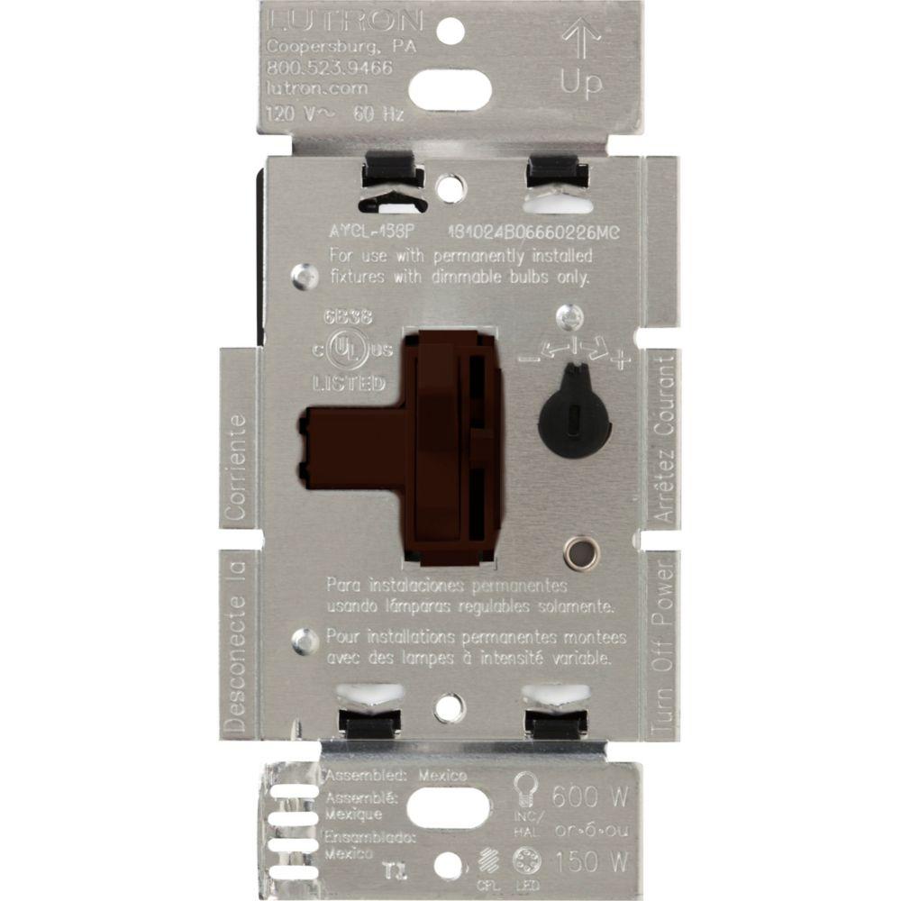 Ariadni 150-Watt Single-Pole/3-Way LED/CFL Dimmer, Brown