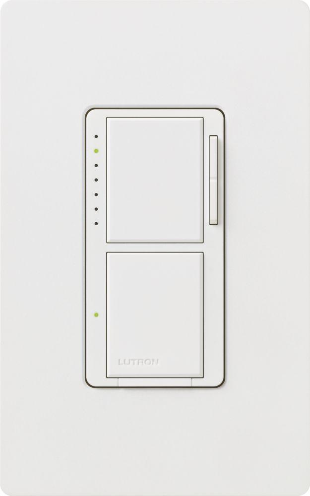 Lutron Maestro 300-Watt Single-Pole Dual Dimmer and Switch, White
