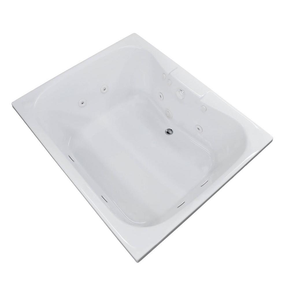 Rhode 5 Feet Acrylic Rectangular Drop-in Whirlpool Bathtub in White