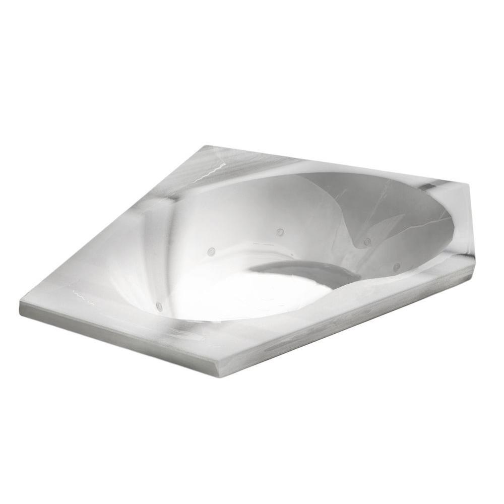 Quartz 5 Feet Acrylic Corner Drop-in Whirlpool Bathtub in White