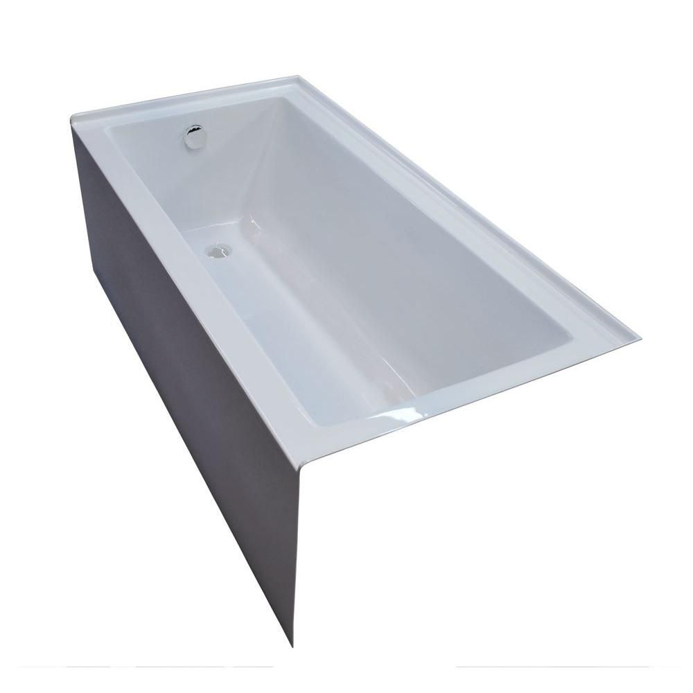 Universal Tubs Beryl 5 Feet Corner Soaker Bathtub | The Home Depot ...