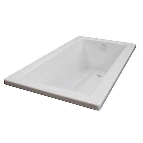 Sapphire 5 ft. Acrylic Drop-in Reversible Drain Rectangular Bathtub in White