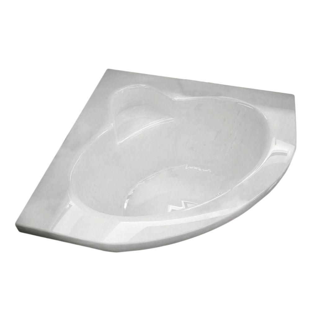 Jasper 5 Feet Corner Soaker Bathtub in White