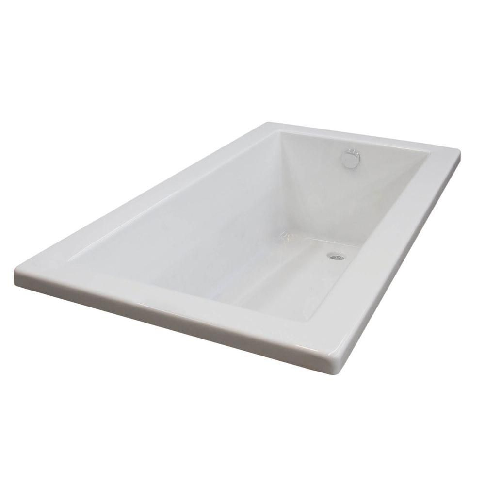 Sapphire 6 Feet Acrylic Rectangular Drop-in Non Whirlpool Bathtub in White