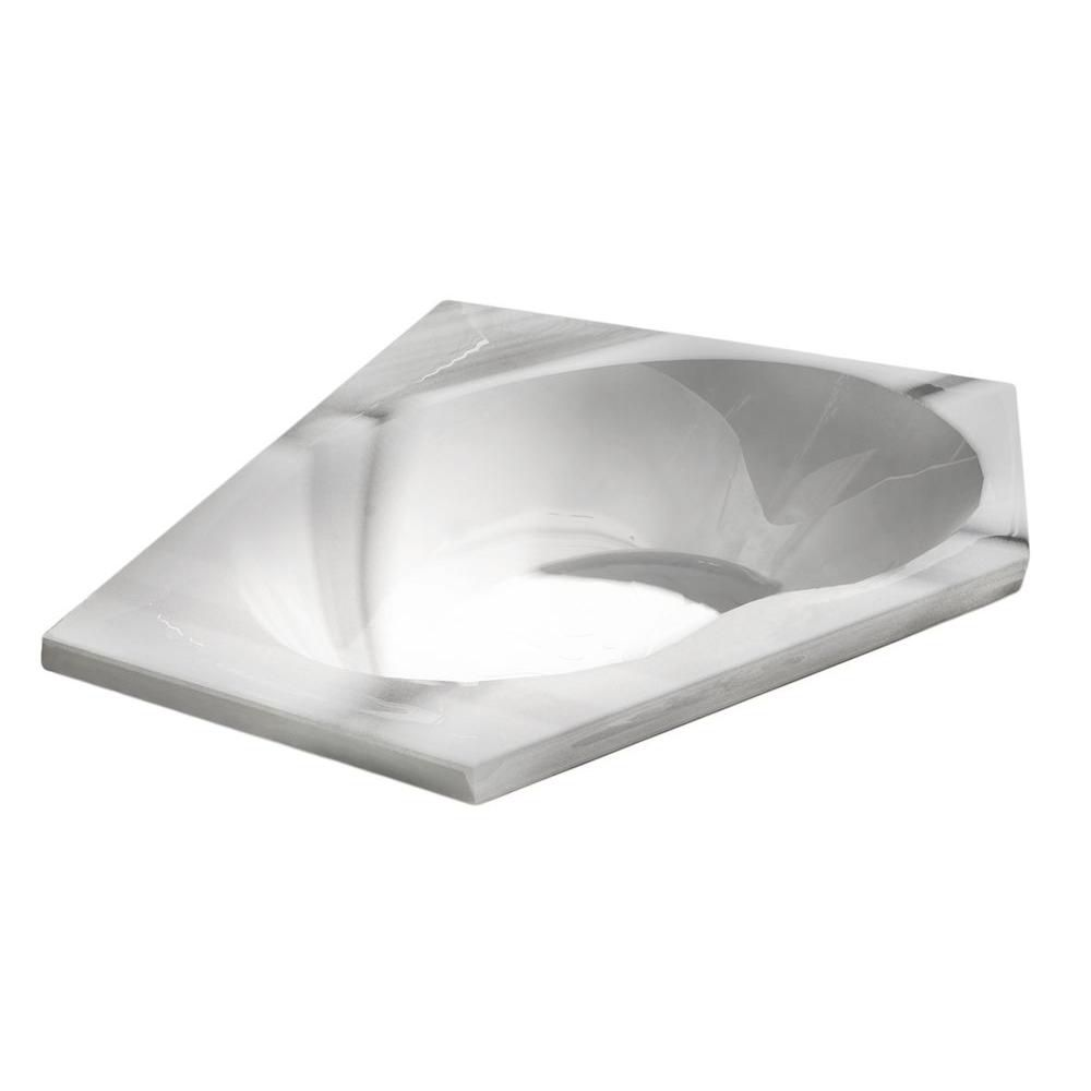 Universal Tubs Quartz 5 Feet Acrylic Corner Drop-in Non Whirlpool Bathtub in White