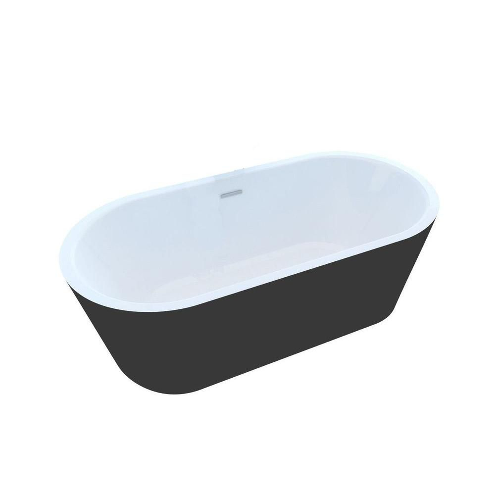 Obsidian 5 Feet 7-Inch Acrylic Oval Freestanding Non Whirlpool Bathtub in White and Black