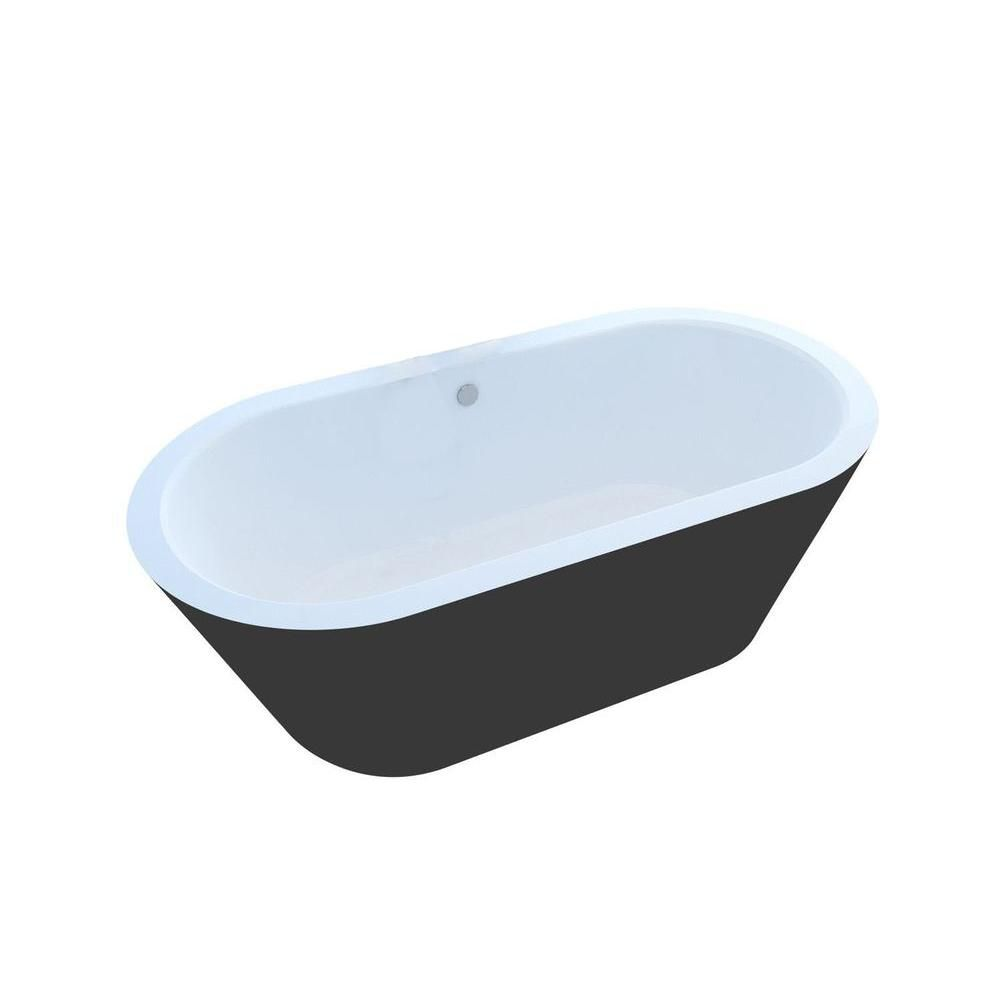Obsidian 5 Feet 10-Inch Acrylic Oval Freestanding Non Whirlpool Bathtub in White and Black