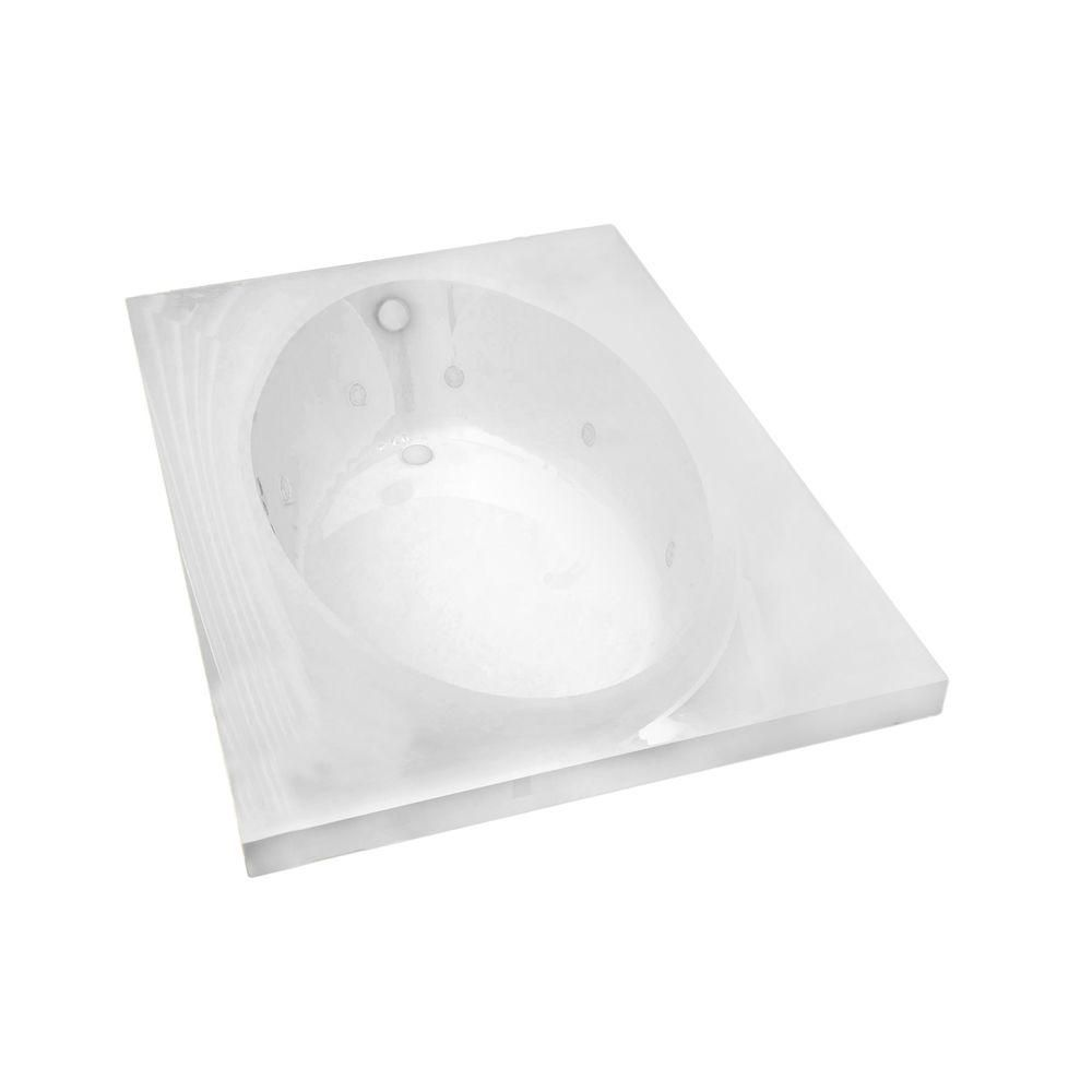 Universal Tubs Imperial 6 ft. Acrylic Drop-in Right Drain Rectangular Whirlpool Bathtub in White