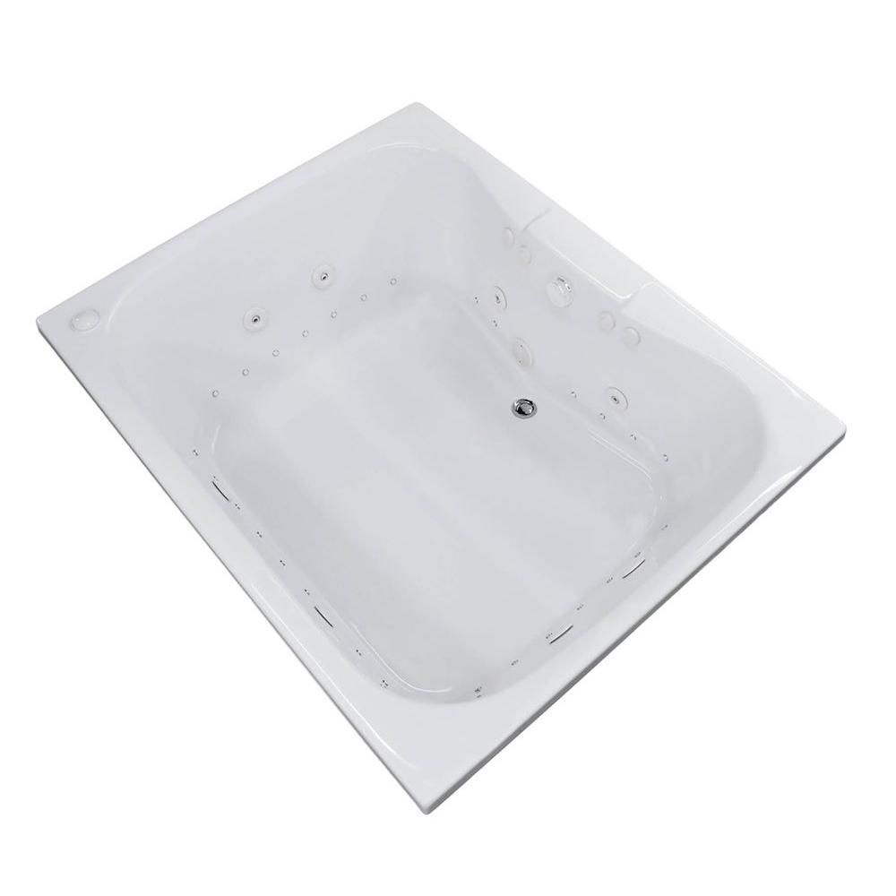 Universal Tubs Rhode 5 ft. Acrylic Drop-in Left Drain Rectangular Whirlpool and Air Bathtub in White