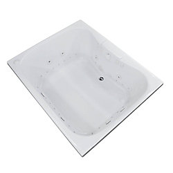 Universal Tubs Rhode 5 ft. Acrylic Drop-in Right Drain Rectangular Whirlpool and Air Bathtub in White