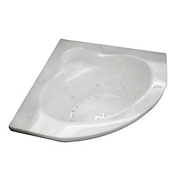 Universal Tubs Jasper 5 Ft. Acrylic Drop-in Right Drain Corner Whirlpool and Air Bathtub in White