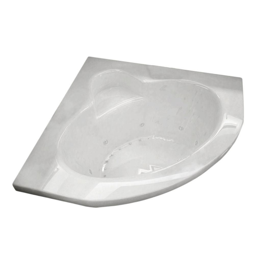 Jasper 5 Ft. Acrylic Drop-in Right Drain Corner Whirlpool and Air Bathtub in White