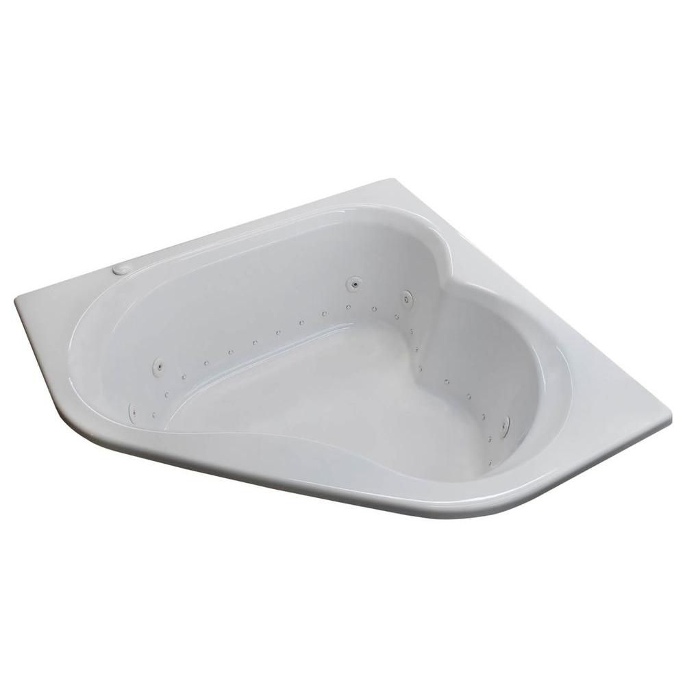 Universal Tubs Beryl 5 Ft. Acrylic Drop-in Left Drain Corner Whirlpool and Air Bathtub in White