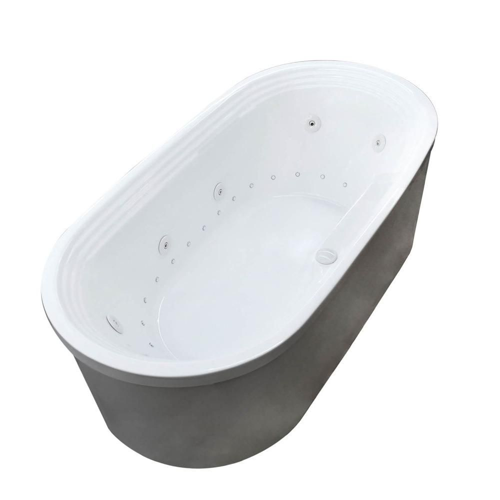 Pearl 5 Feet 7-Inch Acrylic Oval Freestanding Whirlpool Bathtub in White