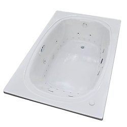 Universal Tubs Peridot Diamond 6 Ft. Acrylic Drop-in Right Drain Oval Whirlpool and Air Bathtub in White