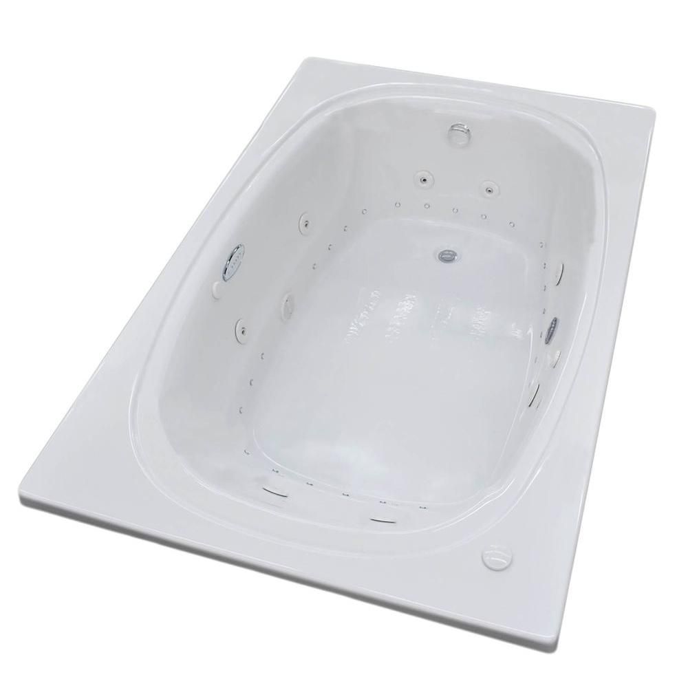 Peridot Diamond 6 Ft. Acrylic Drop-in Right Drain Oval Whirlpool and Air Bathtub in White
